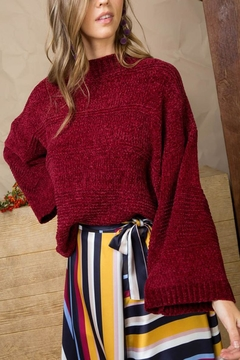 Main Strip Burgundy Chenille Sweater - Product List Image
