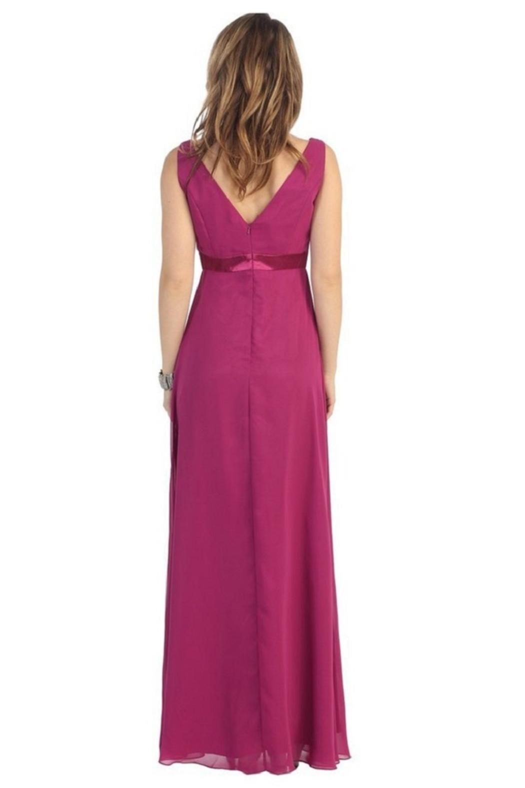 May Queen  Burgundy Chiffon Formal Long Dress - Front Full Image