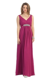 May Queen  Burgundy Chiffon Formal Long Dress - Front cropped