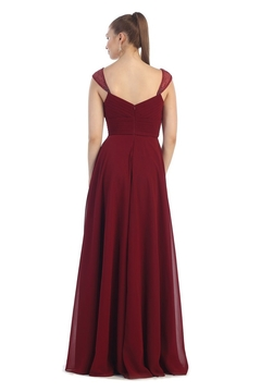 May Queen  Burgundy Chiffon Pleated Long Formal Dress - Alternate List Image