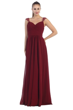May Queen  Burgundy Chiffon Pleated Long Formal Dress - Product List Image