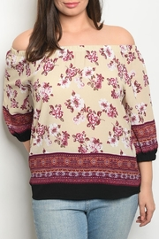 Zenobia Burgundy Cream Top - Product Mini Image