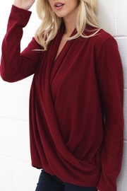 Wanna B Burgundy Cross-Drape Blouse - Product Mini Image