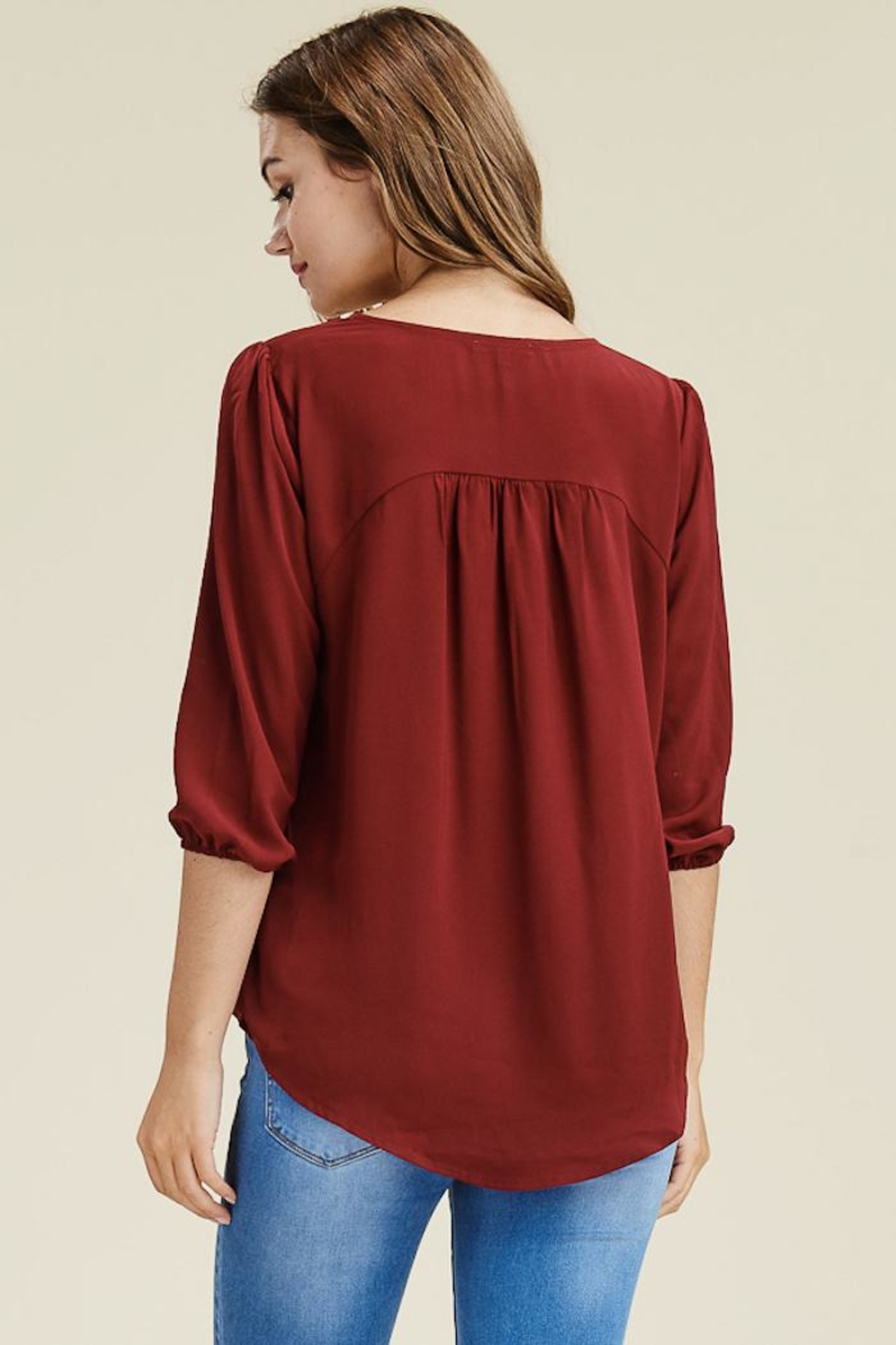Staccato Burgundy Cross Top - Front Full Image