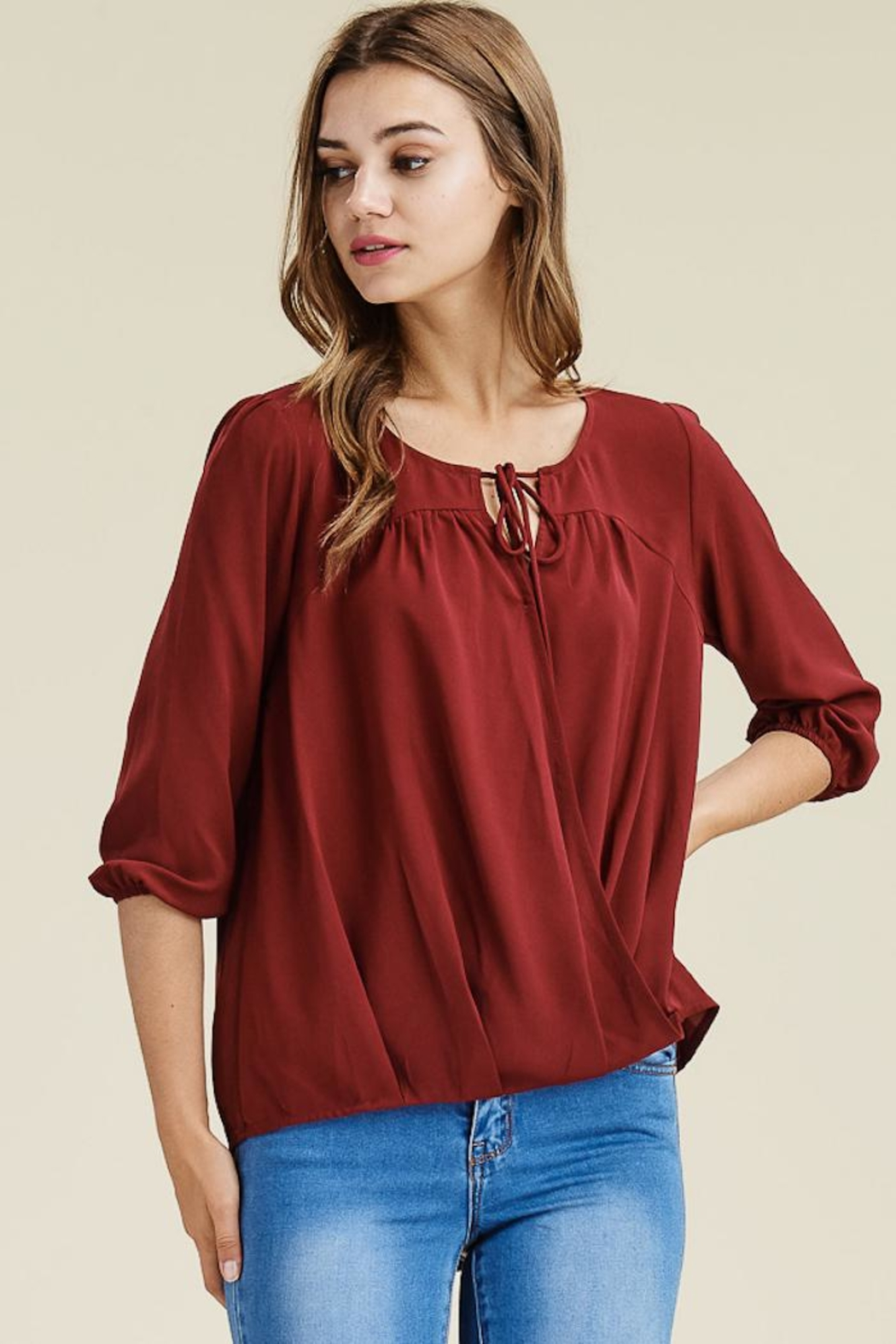 Staccato Burgundy Cross Top - Main Image