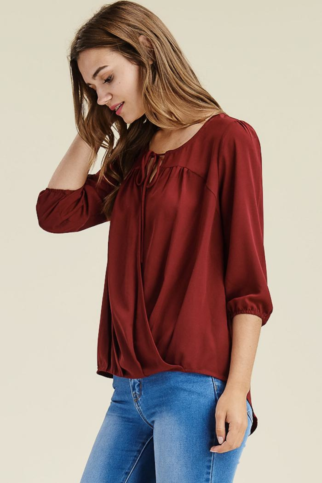 Staccato Burgundy Cross Top - Side Cropped Image