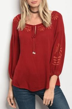 348bdb95c81 Shoptiques Product  Burgundy Embroidered Top ...