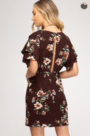 She + Sky Burgundy floral dress with flutter sleeves by She & Sky - Product Mini Image
