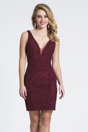 Dave and Johnny Burgundy Glitter Dress - Product Mini Image