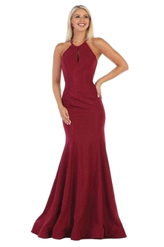 May Queen  Burgundy Glitter Fit & Flare Formal Long Dress - Product List Image