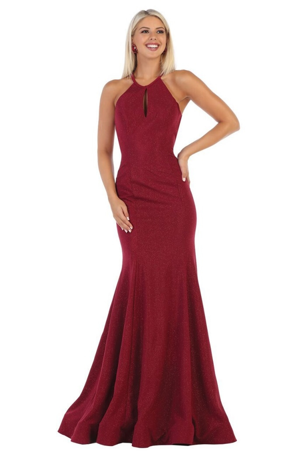 May Queen  Burgundy Glitter Fit & Flare Formal Long Dress - Main Image