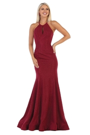 May Queen  Burgundy Glitter Fit & Flare Formal Long Dress - Front cropped