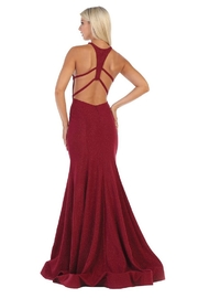 May Queen  Burgundy Glitter Fit & Flare Formal Long Dress - Front full body