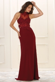May Queen  Burgundy Halter Cutout Formal Long Dress - Product Mini Image