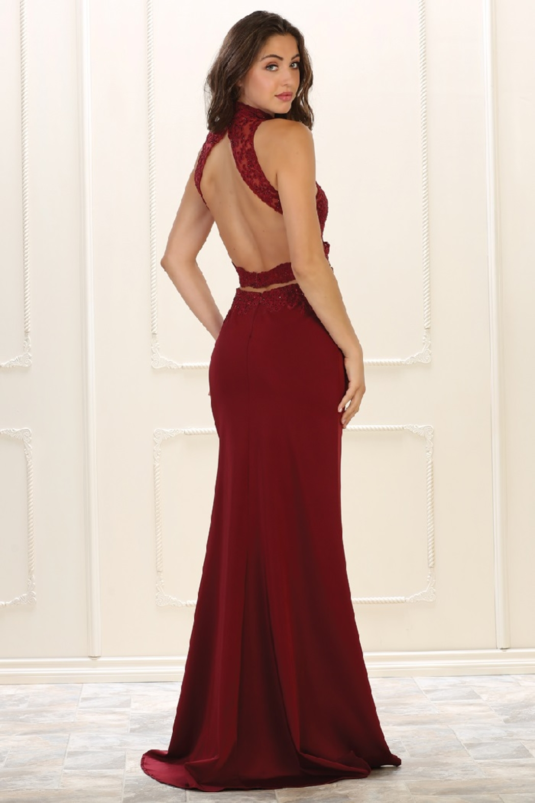 May Queen  Burgundy Halter Cutout Formal Long Dress - Front Full Image
