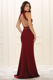 May Queen  Burgundy Halter Cutout Formal Long Dress - Front full body