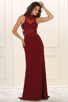 May Queen  Burgundy Halter Cutout Formal Long Dress - Product List Image