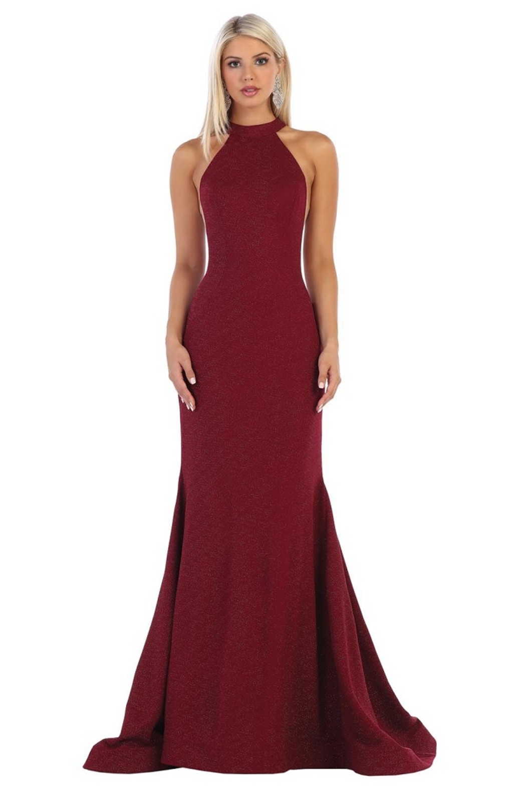 May Queen  Burgundy Halter Fit & Flare Formal Long Dress - Main Image