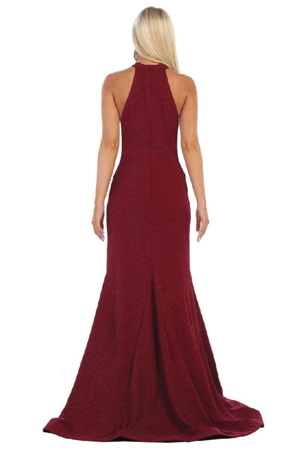May Queen  Burgundy Halter Fit & Flare Formal Long Dress - Front Full Image