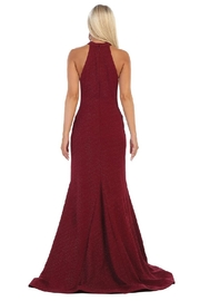 May Queen  Burgundy Halter Fit & Flare Formal Long Dress - Front full body