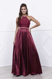 NOX A N A B E L Burgundy Halter Top A-Line Long Formal Dress - Product Mini Image