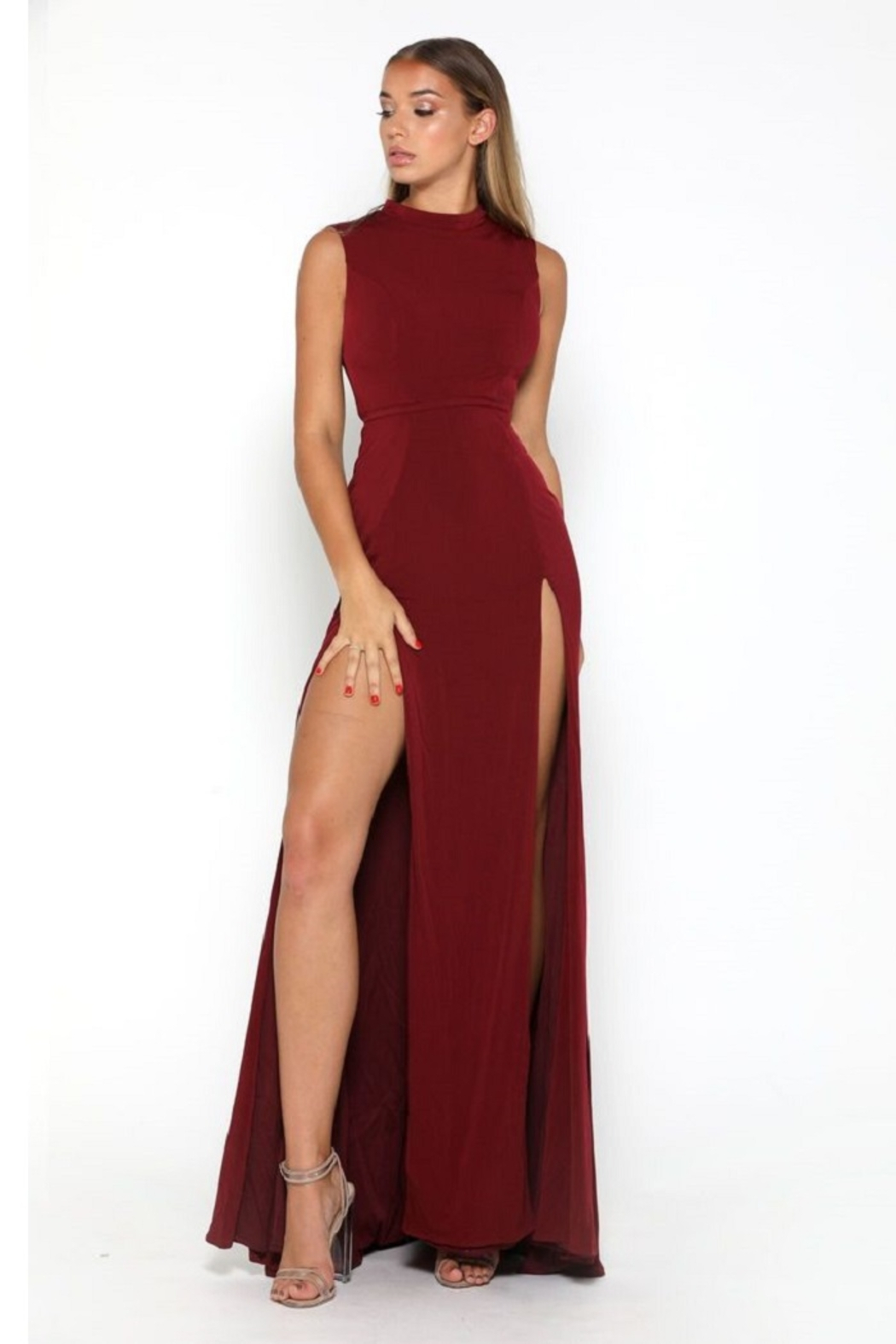 PORTIA AND SCARLETT Burgundy High Neck Long Semi-Formal Dress - Main Image