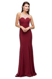 DANCING QUEEN Burgundy Jeweled Halter Long Formal Dress - Product Mini Image