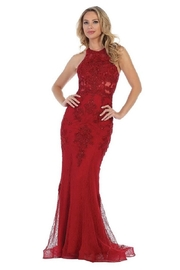 Let's Burgundy Lace Fit & Flare Long Formal Dress - Product Mini Image