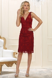 May Queen  Burgundy Lace Formal Short Dress - Product Mini Image