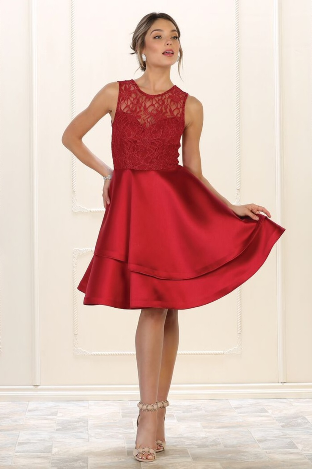 May Queen  Burgundy Lace Layered Formal Short Dress - Main Image
