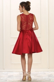 May Queen  Burgundy Lace Layered Formal Short Dress - Side cropped