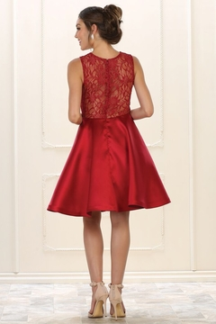 May Queen  Burgundy Lace Layered Formal Short Dress - Alternate List Image