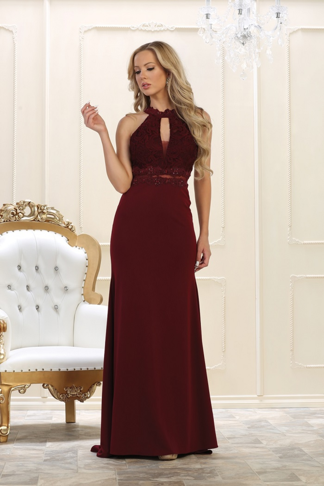 May Queen  Burgundy Lace Long Dress - Front Cropped Image