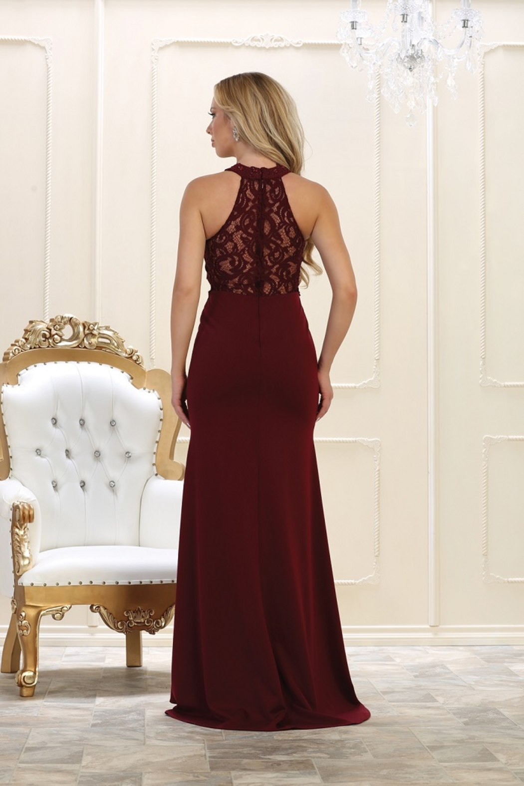 May Queen  Burgundy Lace Long Dress - Front Full Image