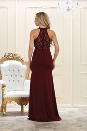May Queen  Burgundy Lace Long Dress - Front full body