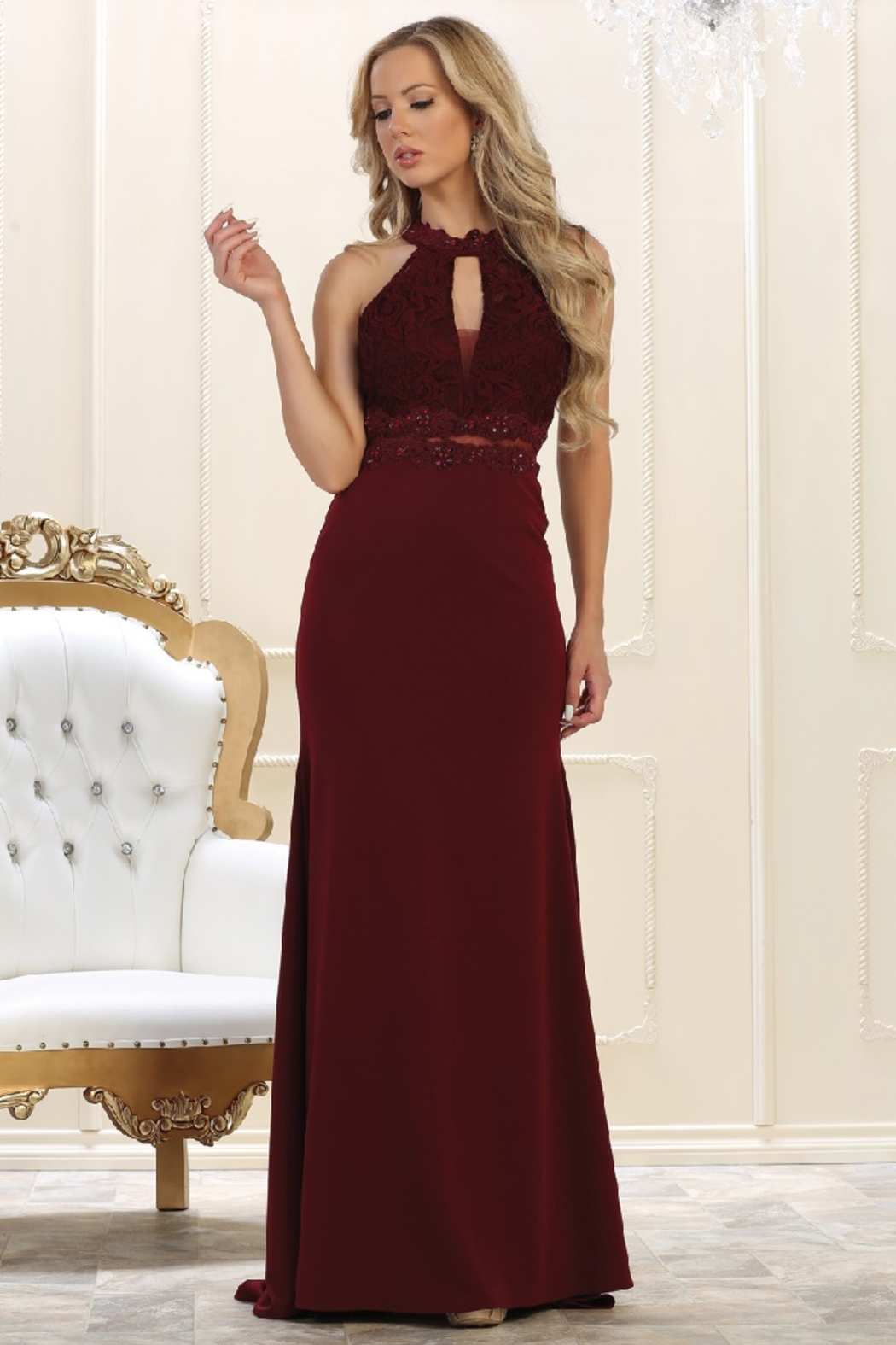 May Queen  Burgundy Lace Long Dress - Main Image