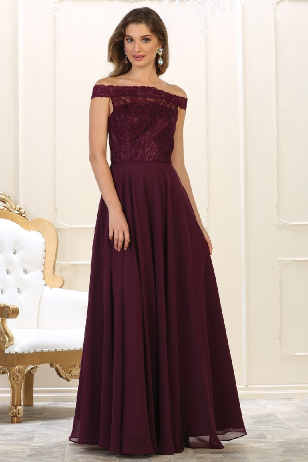 May Queen  Burgundy Lace Off Shoulder Formal Long Dress - Main Image