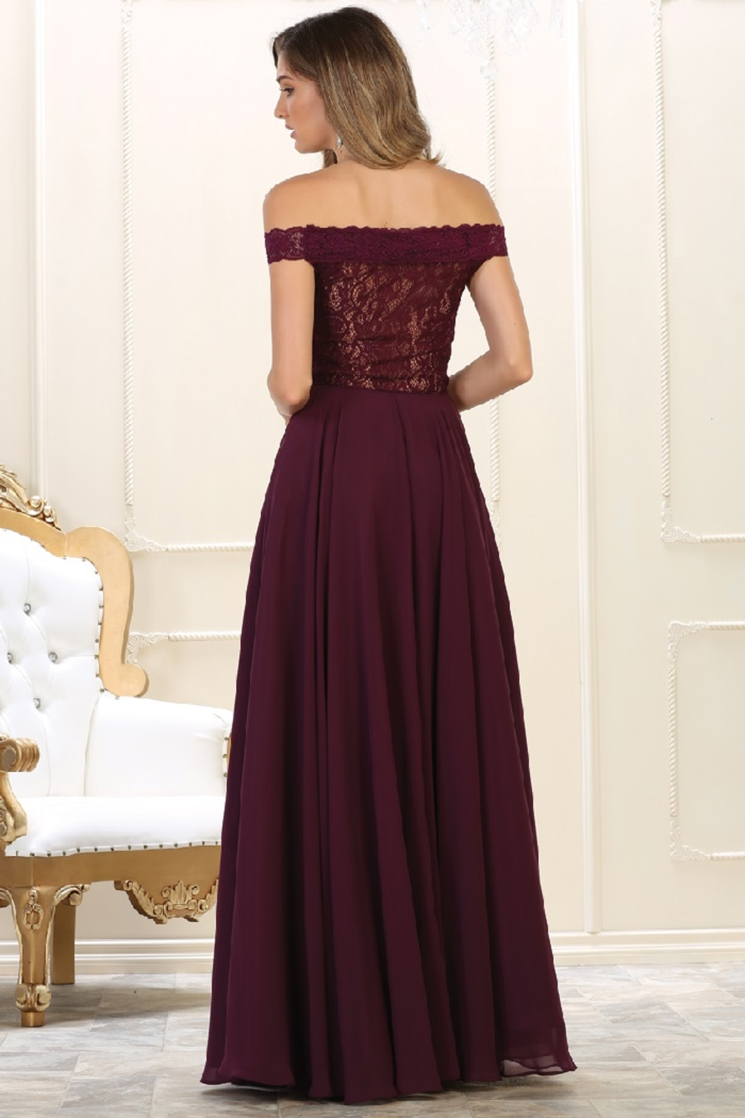 May Queen  Burgundy Lace Off Shoulder Formal Long Dress - Front Full Image
