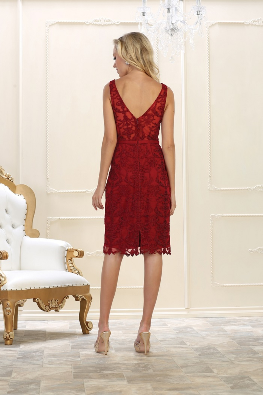May Queen  Burgundy Lace Formal Short Dress - Front Full Image