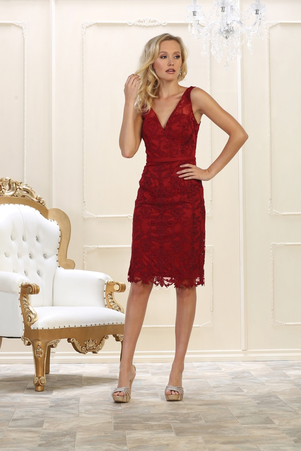 May Queen  Burgundy Lace Formal Short Dress - Front Cropped Image