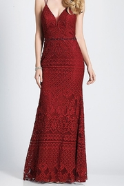 Dave and Johnny Burgundy Lace Slip Gown with Open Back - Product Mini Image