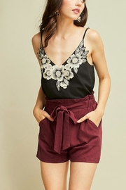Entro Burgundy Linen Shorts - Product Mini Image