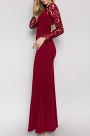 Minuet Burgundy Long Formal Dress with Lace Sleeve - Front full body