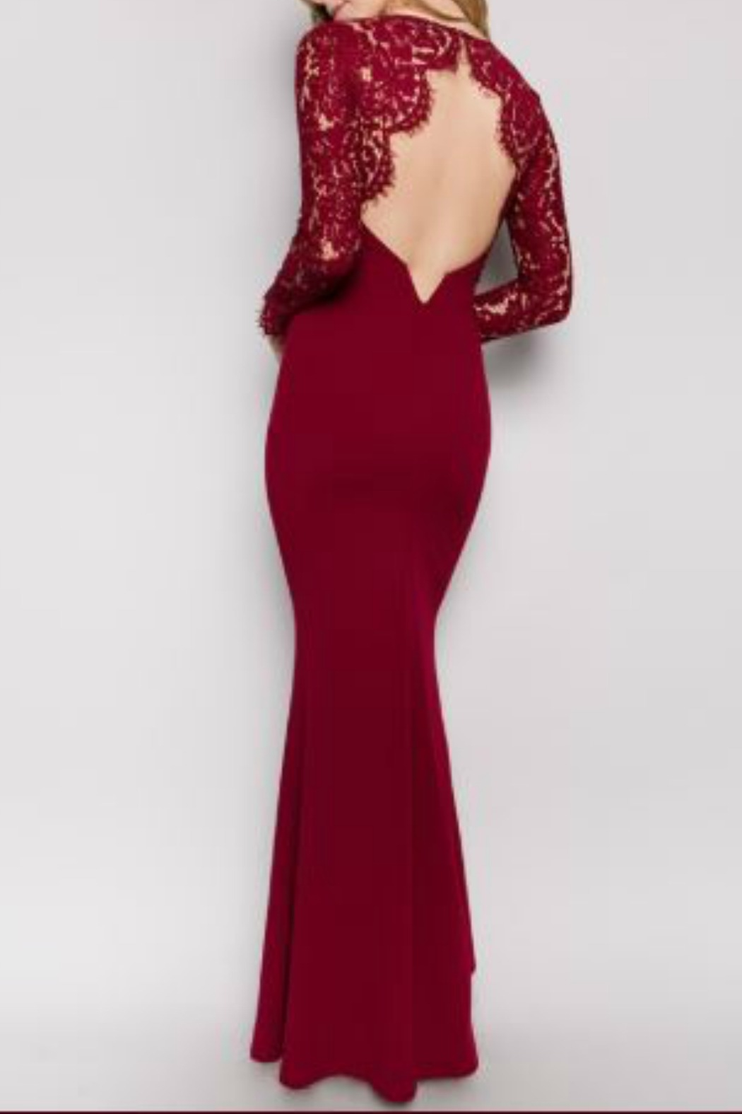 Minuet Burgundy Long Formal Dress with Lace Sleeve - Side Cropped Image