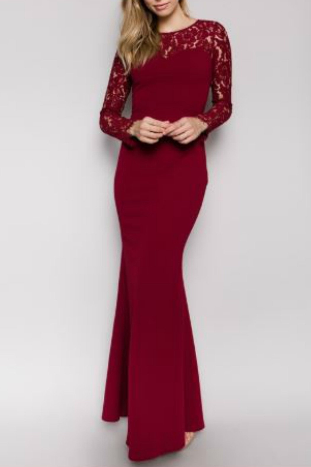 Minuet Burgundy Long Formal Dress with Lace Sleeve - Main Image
