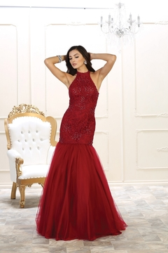 May Queen  Burgundy Mermaid Long Dress - Product List Image