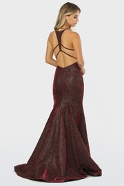 NOX A N A B E L Burgundy Metallic Fit & Flare Long Formal Dress - Product Mini Image