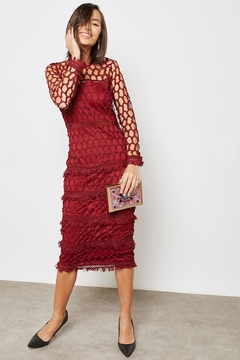 Just Me Burgundy Overlay Dress - Product List Image
