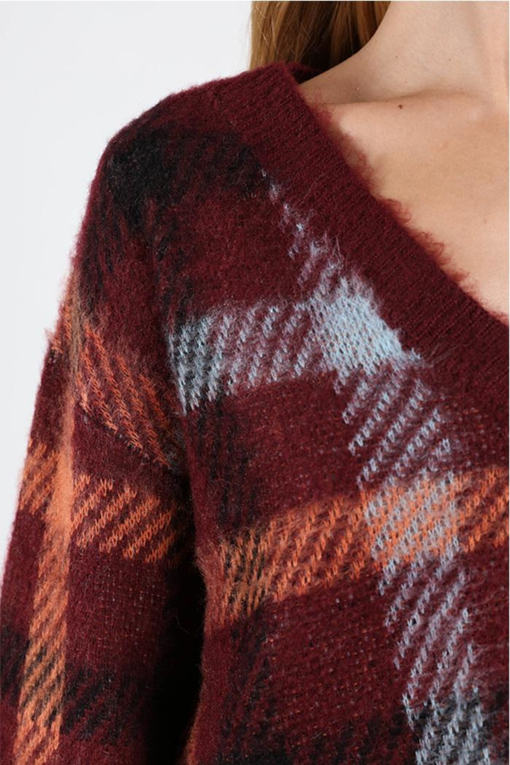 Honey Punch Burgundy Plaid Sweater - Side Cropped Image