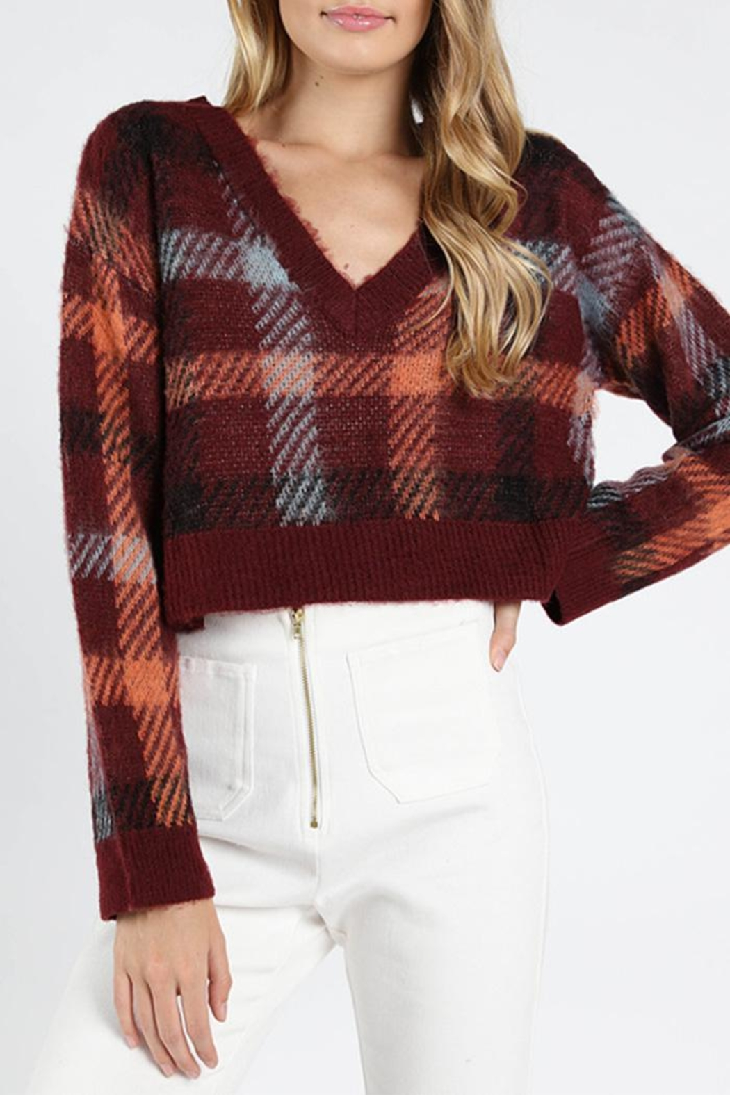 Honey Punch Burgundy Plaid Sweater - Main Image